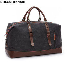 Canvas Leather Men Travel Bags Carry on Luggage Bag