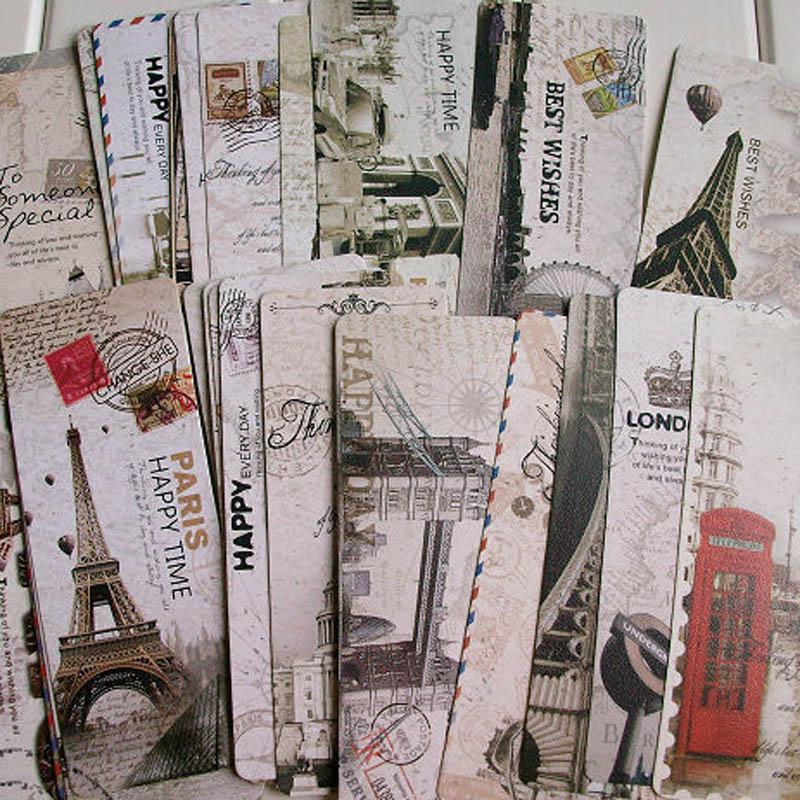 Free shiping 30pcs Different European Scenes Vintage France Paris Eiffel Tower Bookmark Set Exquisite fashion European style 30pcs ka7500c sop free shiping