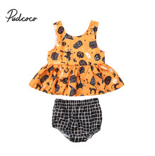 Cute Halloween Newborn Baby Girls Clothes Set Cartoon Tops Dress+Plaid Shorts 2Pcs Outfits Baby Kids Pumpkin Print Costumes(China)