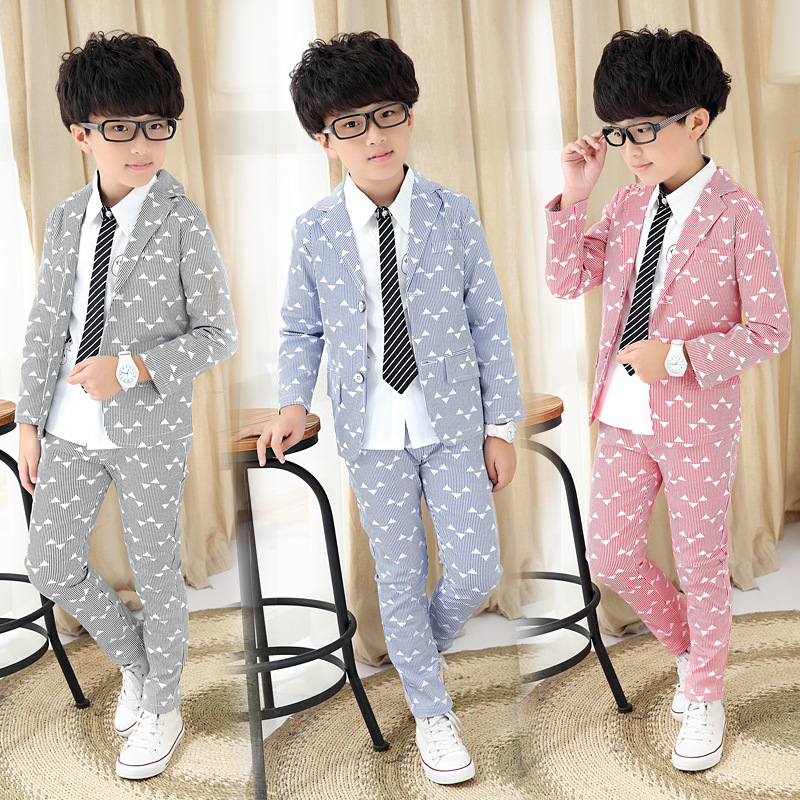 2Pcs 4T-14T Children's Clothing Set Coat+Pants Striped Suit Long Sleeve Cotton Boy Gentleman Clothes Autumn Kids Clothes V20 2017 new boys clothing set camouflage 3 9t boy sports suits kids clothes suit cotton boys tracksuit teenage costume long sleeve