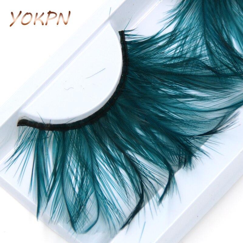 YOKPN Green Exaggerated Long Eye Lashes Hand Crisscross Messy Thick Feathers False Eyelashes Personality Art Makeup Fake Eyelash