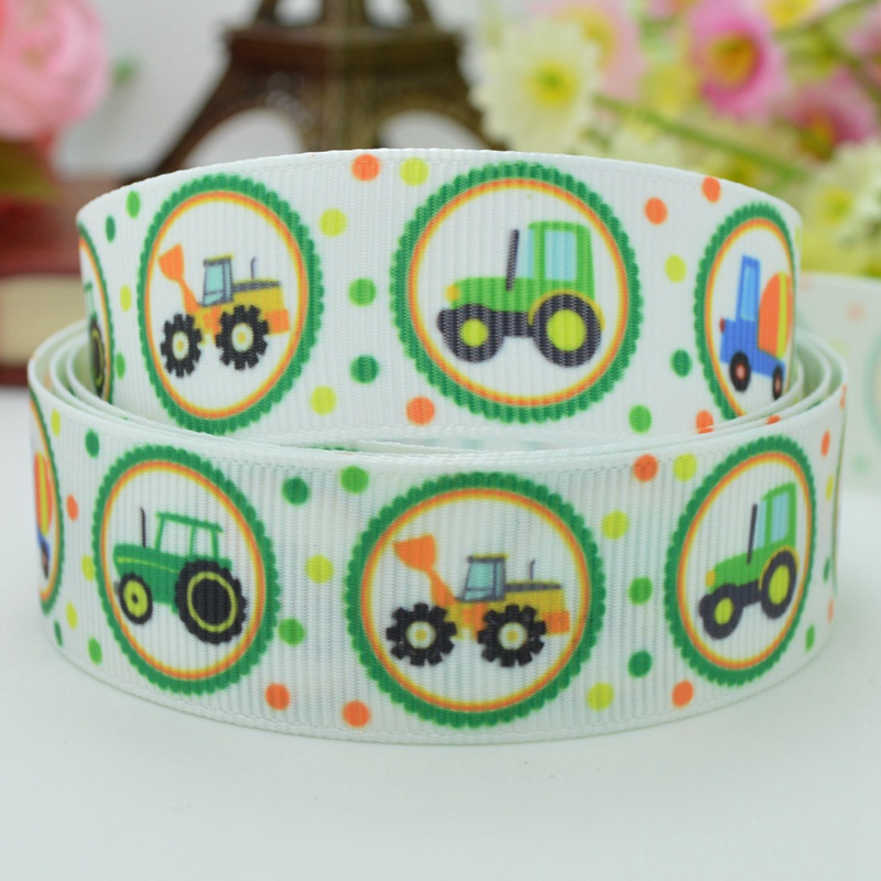 High quality printed ribbon 50 yards Small truck farm animal material Hair Accessories birthday gift paking 7/8 single face
