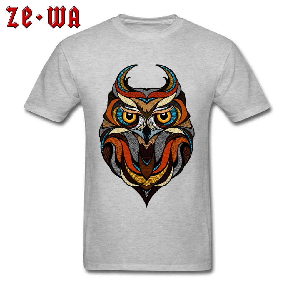 Customized Decorative Owl Mens T-Shirt 2018 Summer Short Sleeve Crewneck 100% Cotton Tops T Shirt Printing Tops T Shirt Decorative Owl  grey