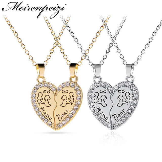 US $1 61 29% OFF Mama Bear Letter Engraved Mother Baby Brokend Heart  Crystal Pendant Necklace Gift For Mother/Wife Women Choker-in Pendant  Necklaces