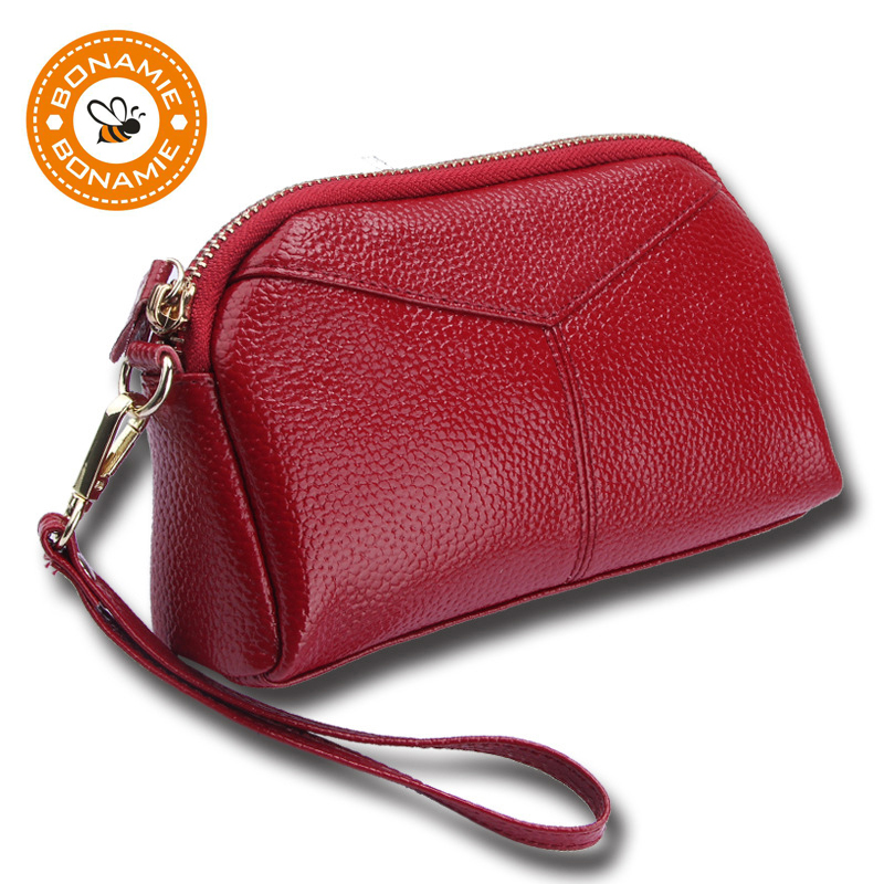 BONAMIE Genuine Leather Women Day Clutch Bags Handbags Women Brands Ladies Wristlet Clutch Wallet Female Purse Evening Party Bag eos бальзам для губ стик гранат малина pomegranate raspberry 4гр