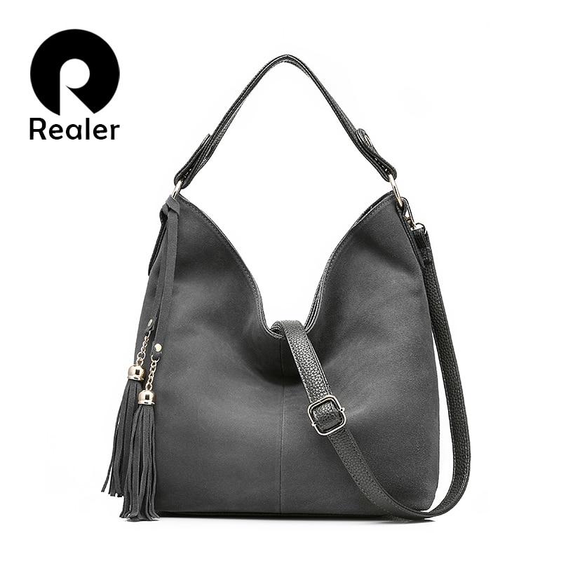 REALER women handbag fashion high quality shoulder messenger bag female zipper tote ladies crossbody large bucket