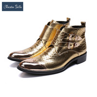 Christia Bella Brand New Men Shoes Boots Italy Handmade Genuine Leather Boots Men Buckles Gold Party Prom Wedding Dress Boots
