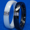 4mm width cnc setting 4pcs stone multic facet hi tech scratch proof ceramic ring 1pc