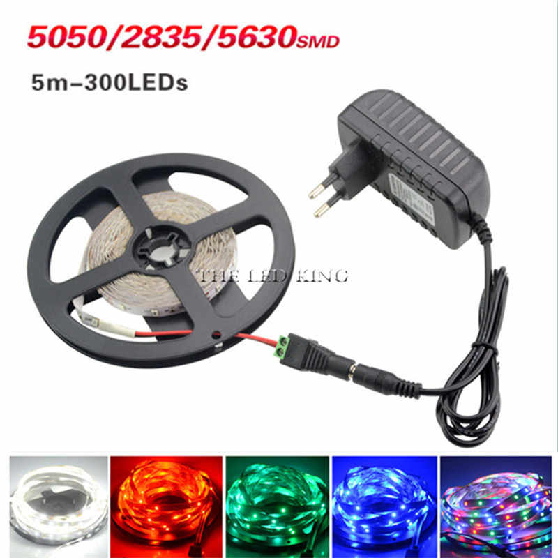 LED Strip Light 5m 60LEDs/m Single Color 3528SMD Flexible LED Tape 12V Power Supply 2A,Warm White,White,Red,Blue,Green,Yellow