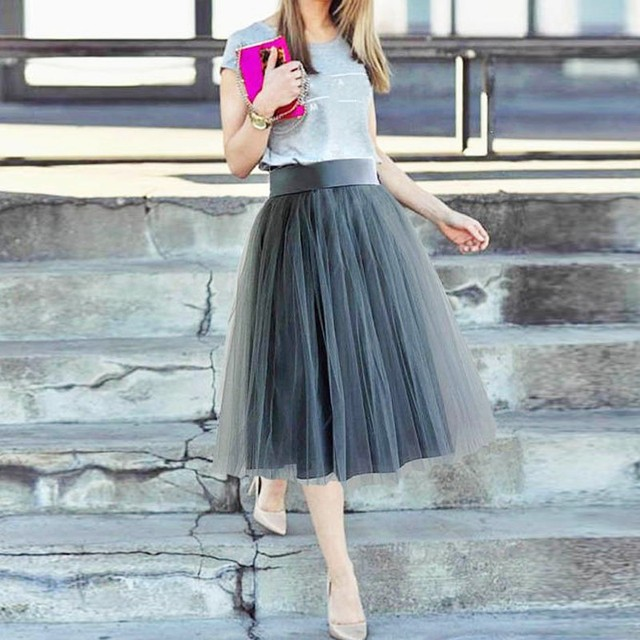 ad0a38363c91 Special Color Gray - Blue Tulle Skirts Women Wide Ribbon Waistband Zipper  Knee Length Tulle Skirt 2018 Custom Made Female