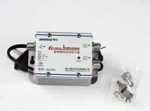 Image 1 - التيار المتناوب 220 فولت 2 طريقة CATV كابل التلفزيون مكبر صوت أحادي أمبير معزز هوائي الفاصل مجموعة النطاق العريض معدات التلفزيون المنزلي 45Mhz إلى 860MHz
