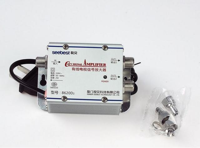 AC 220 V 2 דרך CATV טלוויזיה בכבלים מגבר אות AMP ציוד טלוויזיה אנטנה בוסטרים ספליטר בפס רחב להגדיר בית 45 Mhz כדי 860 MHz