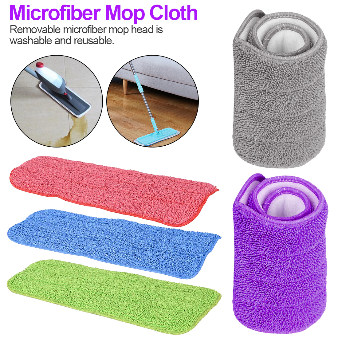 Household Microfiber Mop Pad for Spray Dust Cleaning Head Replacement