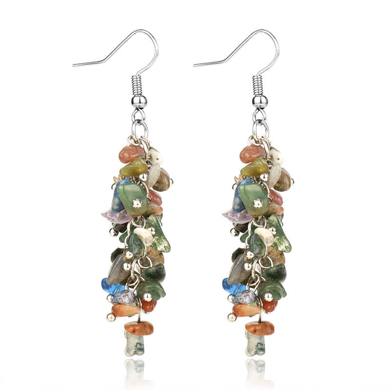 Dropshipping Natural Stone Earring Bohemia Drop Earring Accessories Women Jewelry Gift