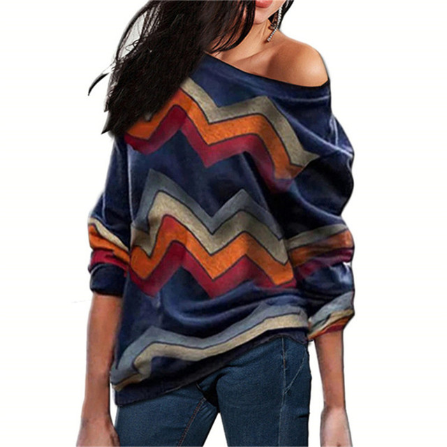 נשים חולצות כבוי כתף חולצות פסים הדפסת סוודרים מגשרים מקרית סרוג חולצות ארוך שרוול חולצה חולצה Camiseta Mujer