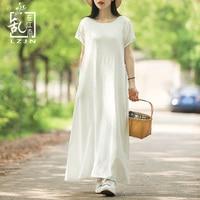 LZJN White Summer Dress 2019 Trending Long Tunic Beach Dress Short Sleeve High Waist Casual Robe Femme Pockets Mori Girl Vestido