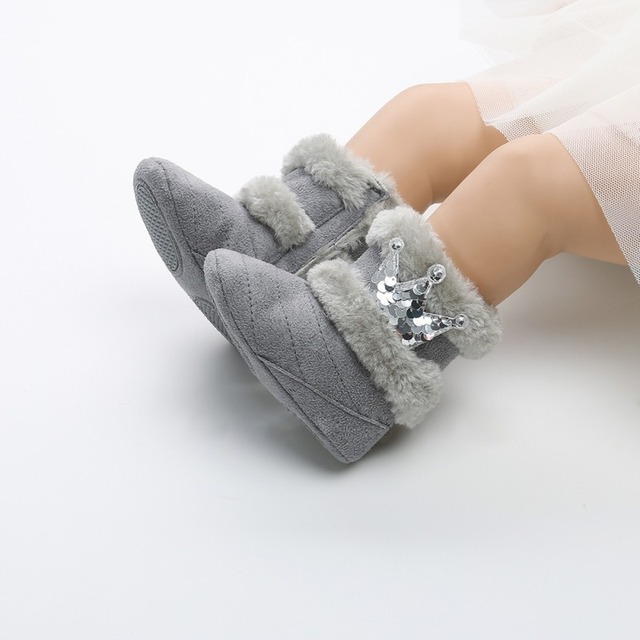 2019 Winter Baby Boots Soft Plush Ball Booties for Infant girls Anti Slip Snow Boot keep Warm Cute Crib Fashion shoes 0-18M 4