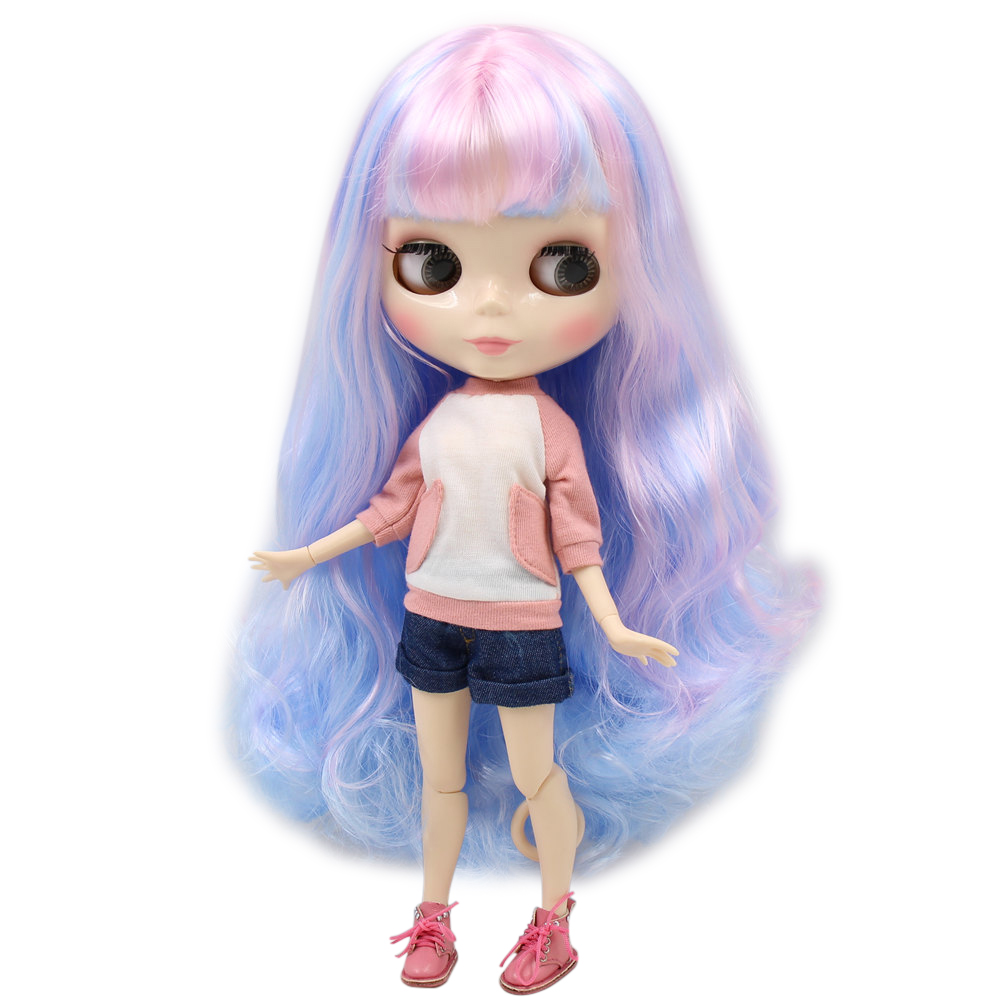ICY Nude Factory Blyth Doll Series No 280BL1017 6005 Pink mix Bluehair white skin Joint body
