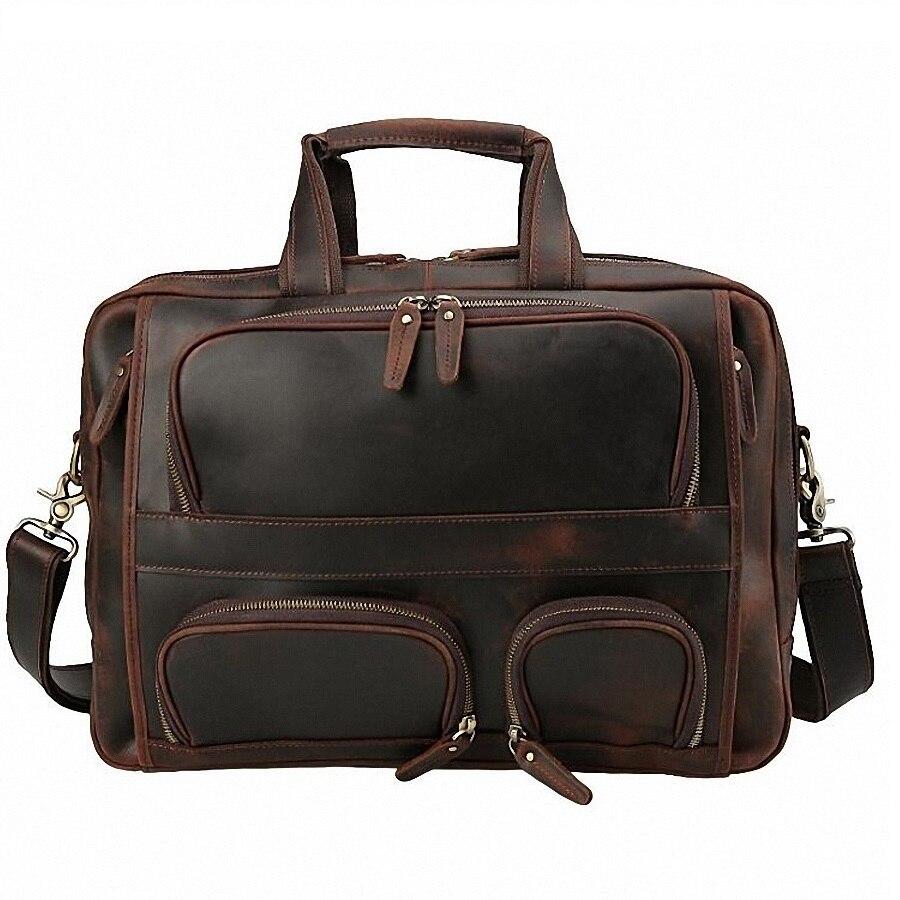 Umhängetasche Tasche Tote Männlichen Leder Dokument Li2275 Brown Aktentasche Reise Business Echtem Laptop Männer xXFZ6Fw