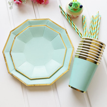 Mint Green Pink Foil Gold Party Plates Cup Supplies Disposable Tableware Set Paper Straws Fork For Summer Party Wedding Baptism