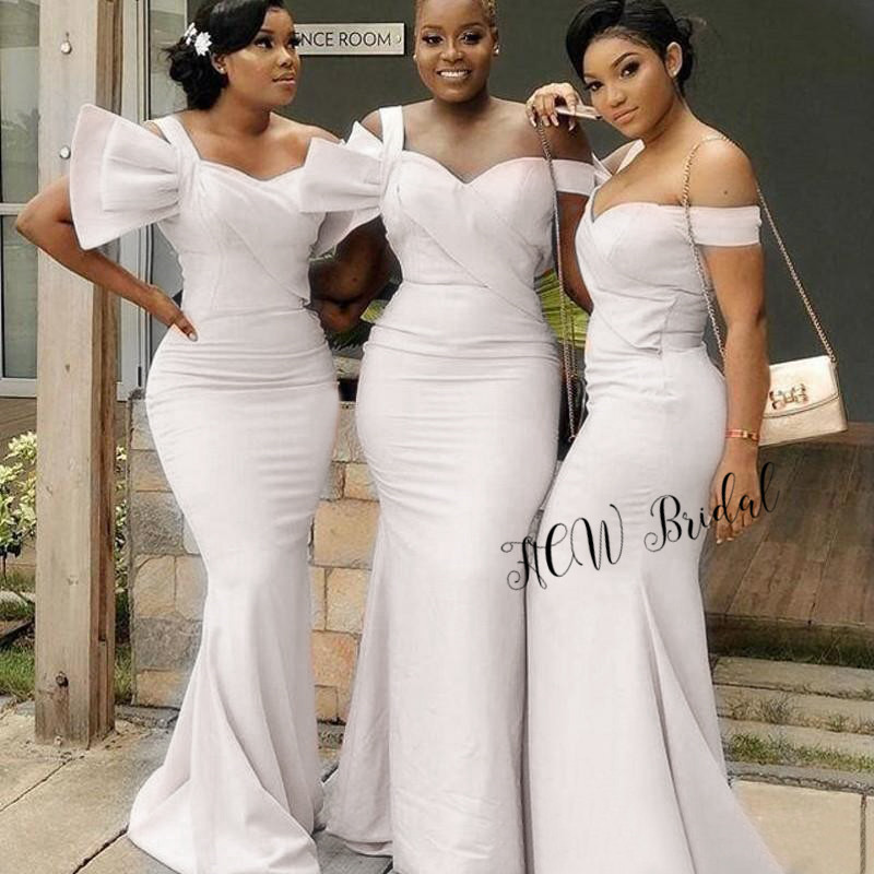 New 2019 White Mermaid   Bridesmaid     Dresses   Graceful Elastic Satin Floor Length Long Cheap African   Bridesmaid   Gowns Wholesale