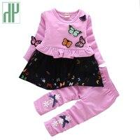 HH enfant fille vêtements automne printemps papillon Princesse fille à manches longues ensemble deux pièces tenues enfants vêtements pull