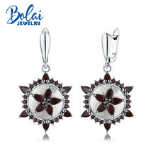 Bolaijewelry,2019 new unique design natural Mop and real garnet solid clasp dangle earring 925 sterling silver for women gift(China)