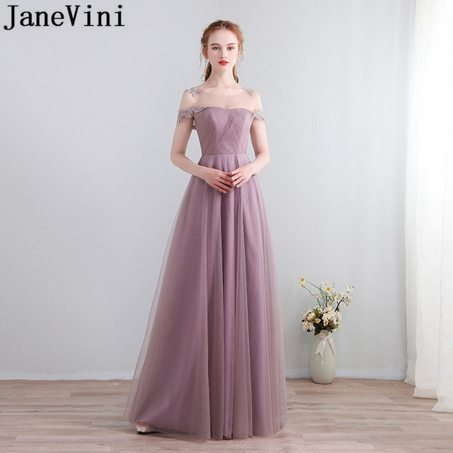 51521b6b684 JaneVini Vestidos Godmother Dusty Pink Wedding Guest Dress Sexy Long Lace  Mother Of The Bride Dresses 2018 Tulle Women Gowns