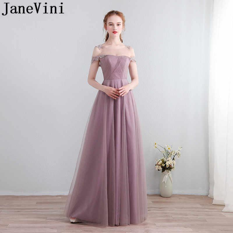 JaneVini Vestidos matka chrzestna Dusty różowy suknia dla gościa weselnego Sexy długie koronkowe sukienki dla matki panny młodej 2018 Tulle kobiety suknie
