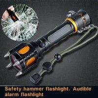 2200lm xm-l t6 led el feneri saldırı kesme halat sesli alarm torch işık lamba penlight 5 modları siyah