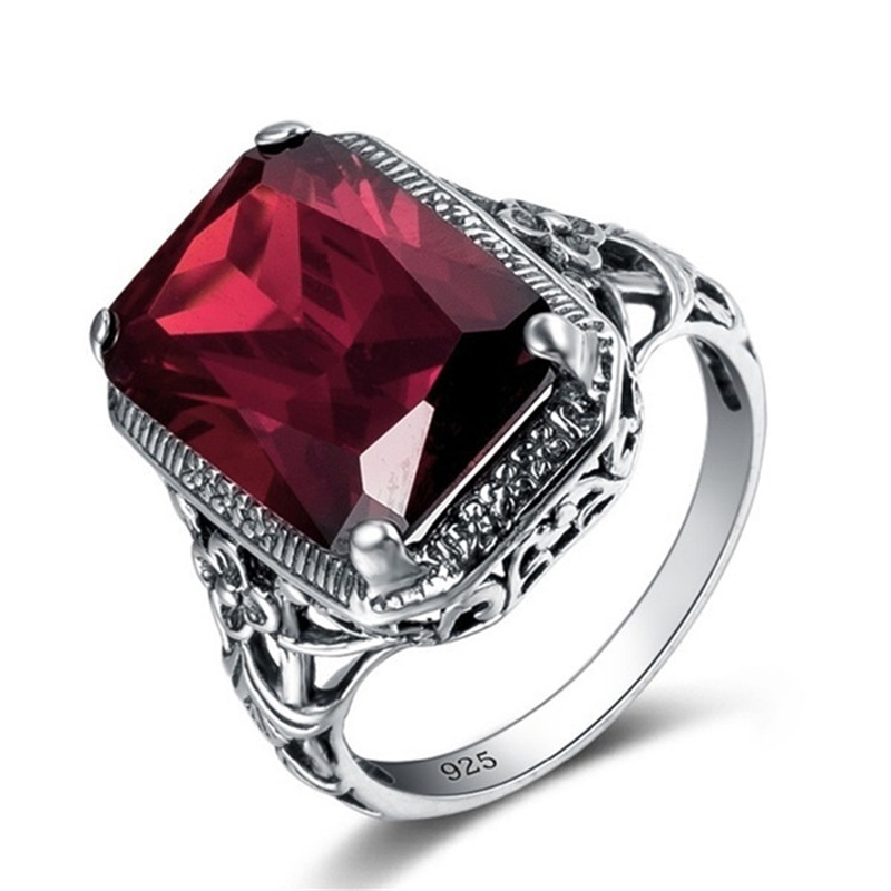 Utimtree Big Square Red Crystal 925s Silver Color Fashion Ring Jewelry Hollow Out Engagement Proposal Men Ring Accessories