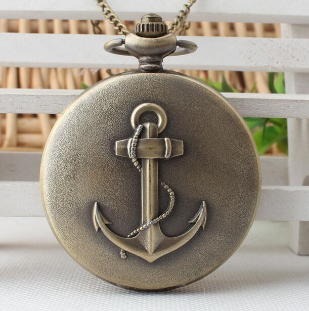 Fashion Bronze The Rudder Anchors Roman Numeral Dial Quartz Pocket Watch Analog Pendant Necklace Mens Womens Watches Chain Gift