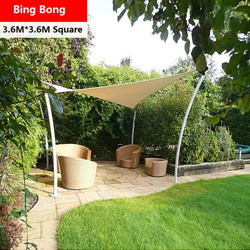 Charming Outdoor Sun Shade Sail Awning Canopy Shading Waterproof Cloth 3.6 3.6m  Tents Gazebo Garden Toldo