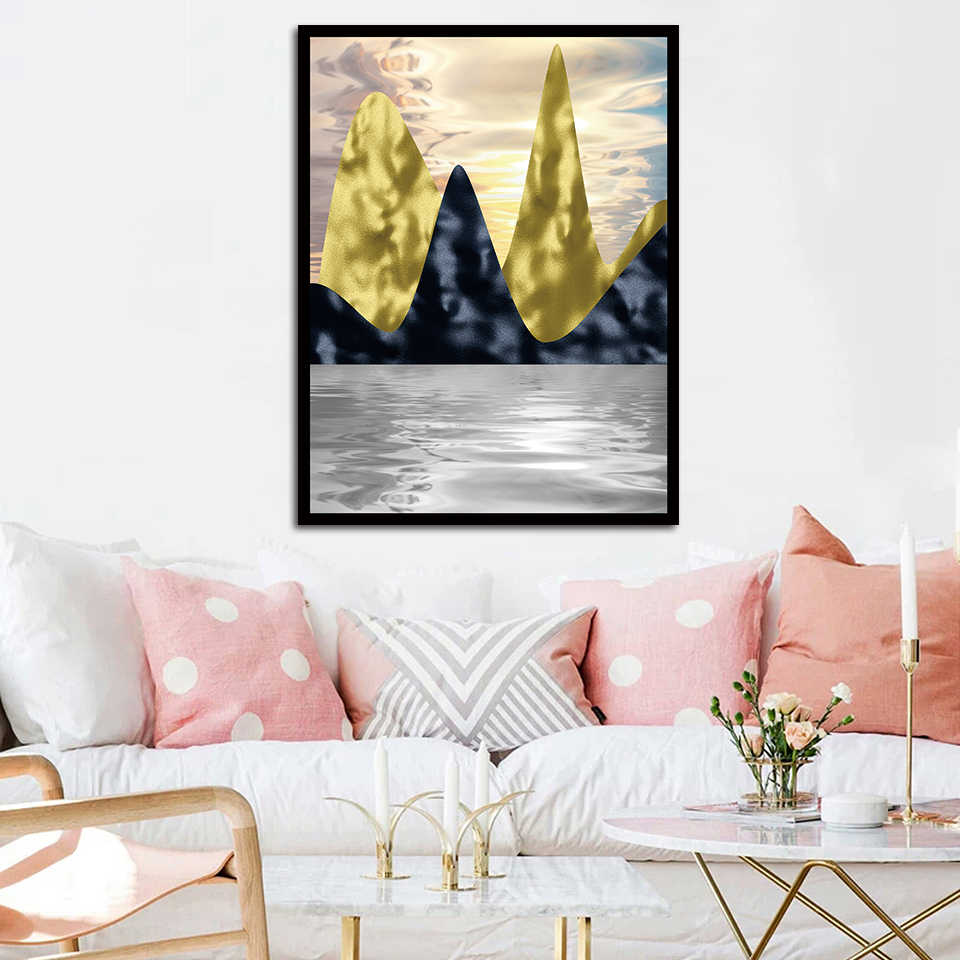 Sunset Over Sea With Reflection A4 Art Prints Poster Nordic Room Wall Pictures Canvas Abstract Gold Foil Ink Painting Home Decor
