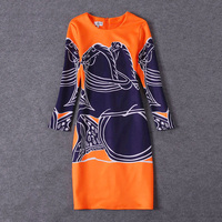 Brand Brief Dresses Long Sleeve Horse Print Classic Star Style Noble Orange Blue Patchwork 2016 Victoria