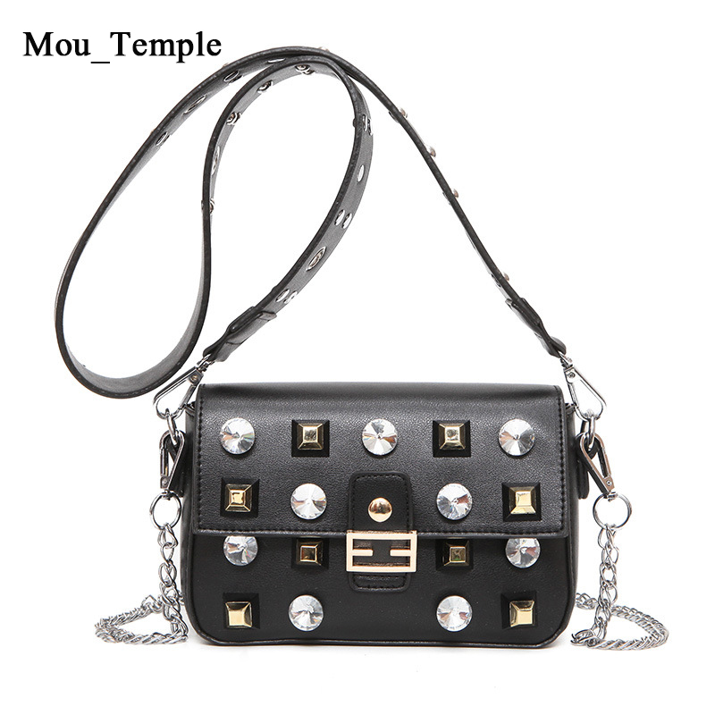 ФОТО Fashion Handbags Women Rivet Messenger Bag Chain Shoulder Crossbody Bags Leather Brand Designer Bags Ladies Purses Flap Handbags