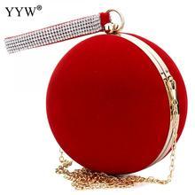 YYW Bolso de mano único de terciopelo para Mujer, de hierro, rojo, para hombro, esférico, para noche, Bolso pequeño, cadena de hombro
