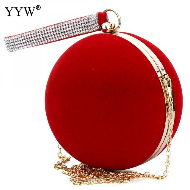 YYW Unique Velvet Iron On Lady Handbag Red Shoulder Clutch Bag Spherical Evening Bags Small Purse Chain Shoulder Bolsos Mujer