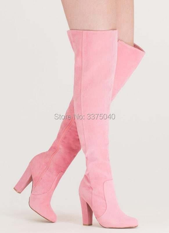 купить Newest Women Pink Over the Knee High Boots Ladies Round Toe Chunky Heel Zipper Thigh High Long Boots Shoes онлайн