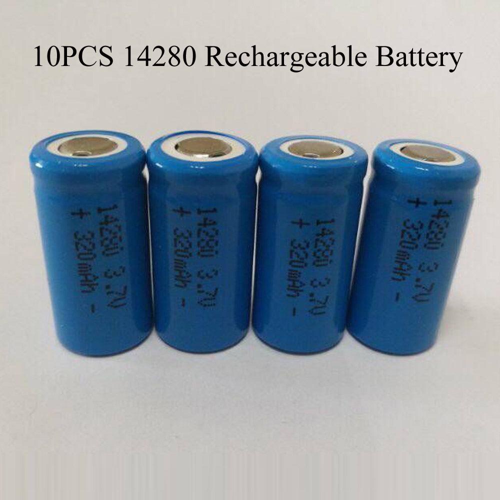 SORAVESS 6pcs <font><b>3.7V</b></font> 14280 Lithium Ion Rechargeable Battery <font><b>320mAh</b></font> Li Ion Batteries Infrared Green Line Laser Sight Instrument image