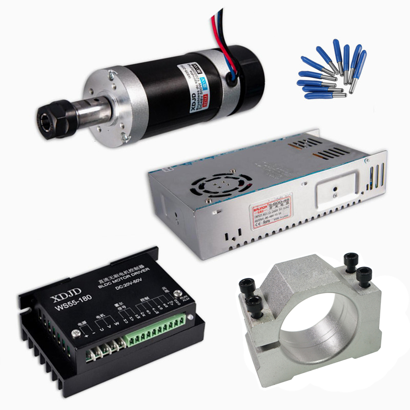 DC CNC Machine Spindle Brushless 400W Air Cooled Spindle Motor Switching Power Supply Motor Driver 55MM Clamp ER11 CNC Parts dc48v 400w 12000rpm brushless spindle motor air cooled 529mn dia 55mm er11 3 175mm for cnc carving milling