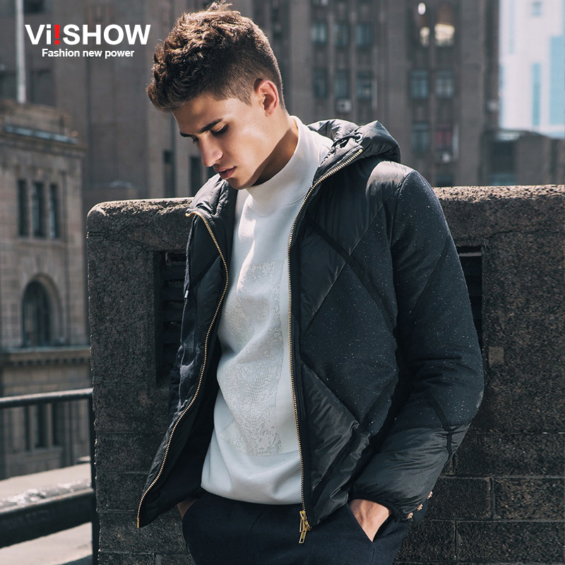 Viishow New Fashion Autumn Winter Jacket Men's Brand Clothing Dark Blue Parkas Cotton Plaid Coat Long Sleeve Jacket Men M150154 napapijri guji check dark blue