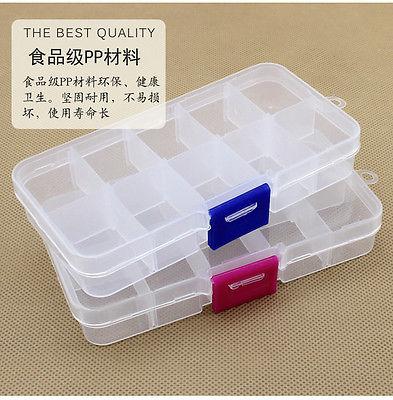 10 Grid Compartments Plastic Jewelry Bead Organizer Box Removable