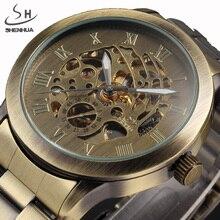 Newスチームパンクが男性ヴィンテーブロンズ自動機械式スケルトン腕時計メンズ機械式時計レロジオmasculino