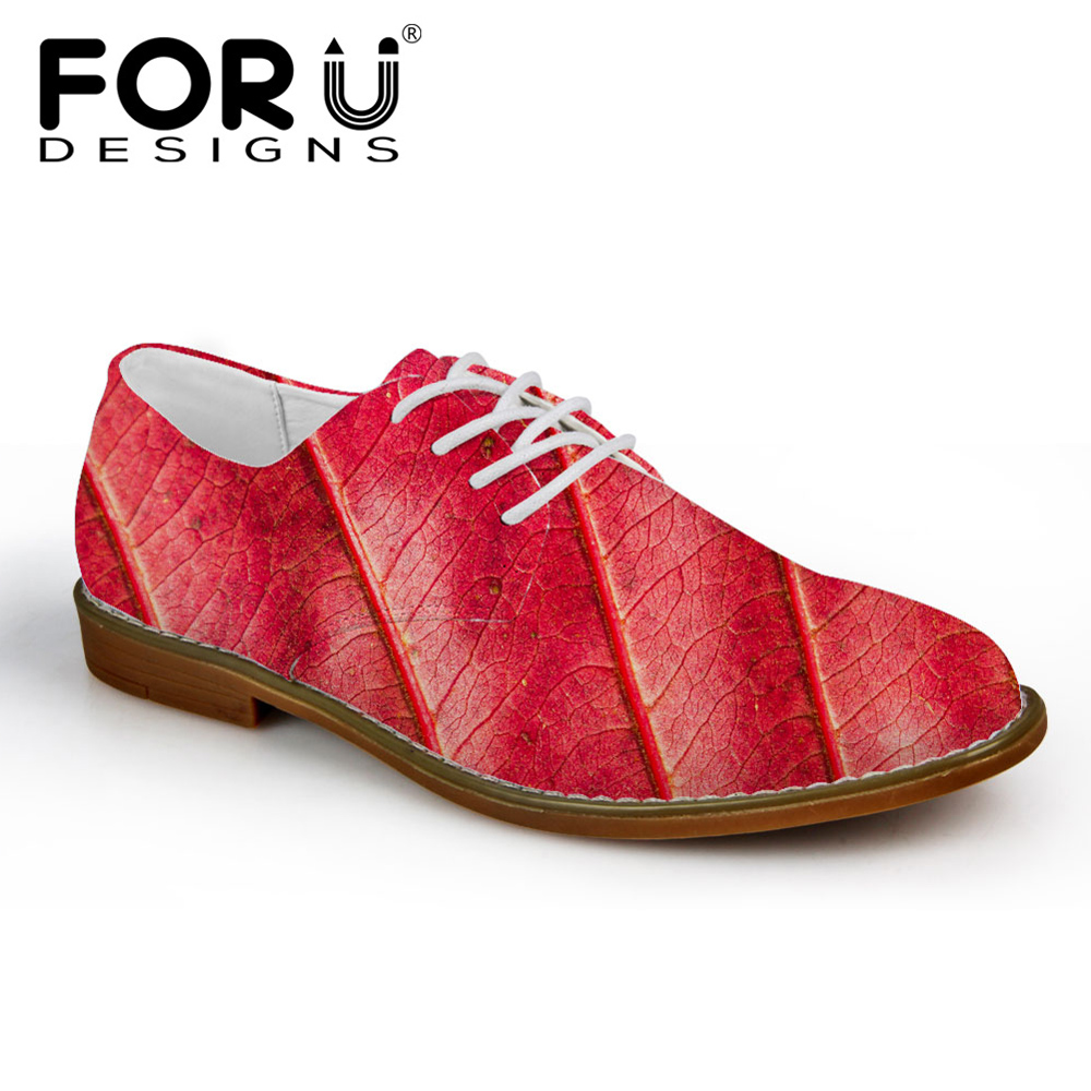 FORUDESIGNS 2018 Fashion Men Oxfords Shoes Colorful Leaf Prints Men's Casual Leather Shoes for Teenage Boys Oxfords Dress Shoes