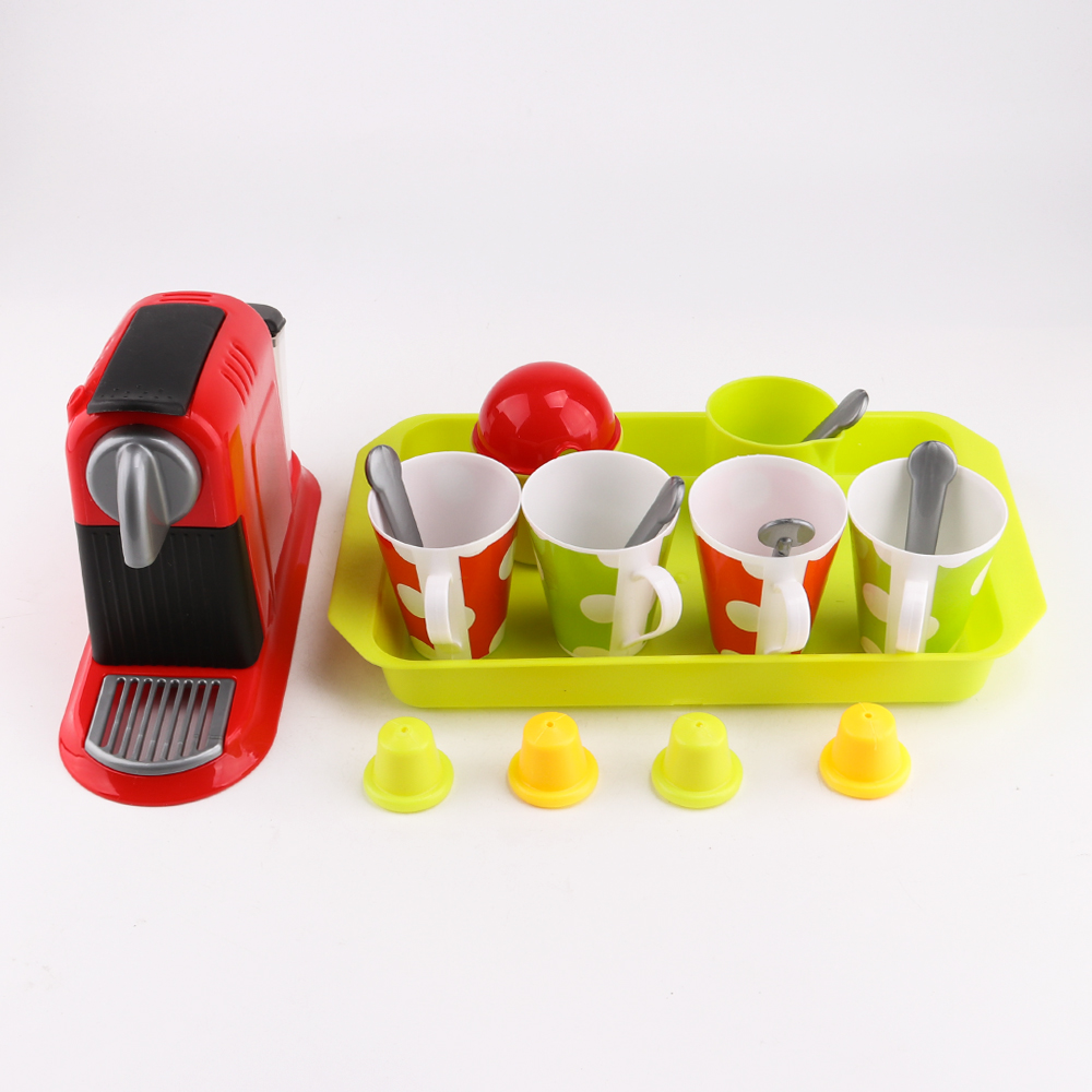 21pcs Simulation Coffeemaker Pretend Play Toys Educational Kid Kitchen Set Fun Miniature Toys For Children