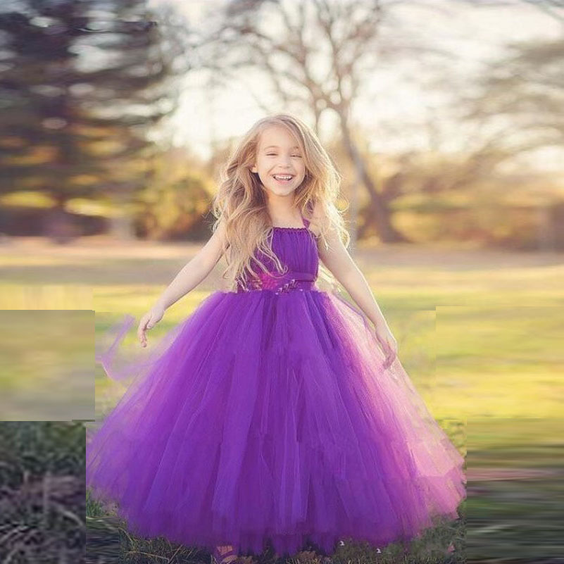 9096a88586c Purple Flower Girl Dresses For Weddings Ribbon Tutu Tulle Kids Party Dresses  Gowns Birthday Puffy Girl Pageant Dress Long Lovely
