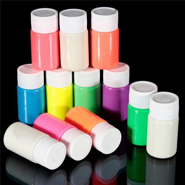 12 Colors Neon Fluorescent UV Body Paint Grow In The Dark Face Painting Luminous Acrylic Paints Art for Party&Halloween Make Up