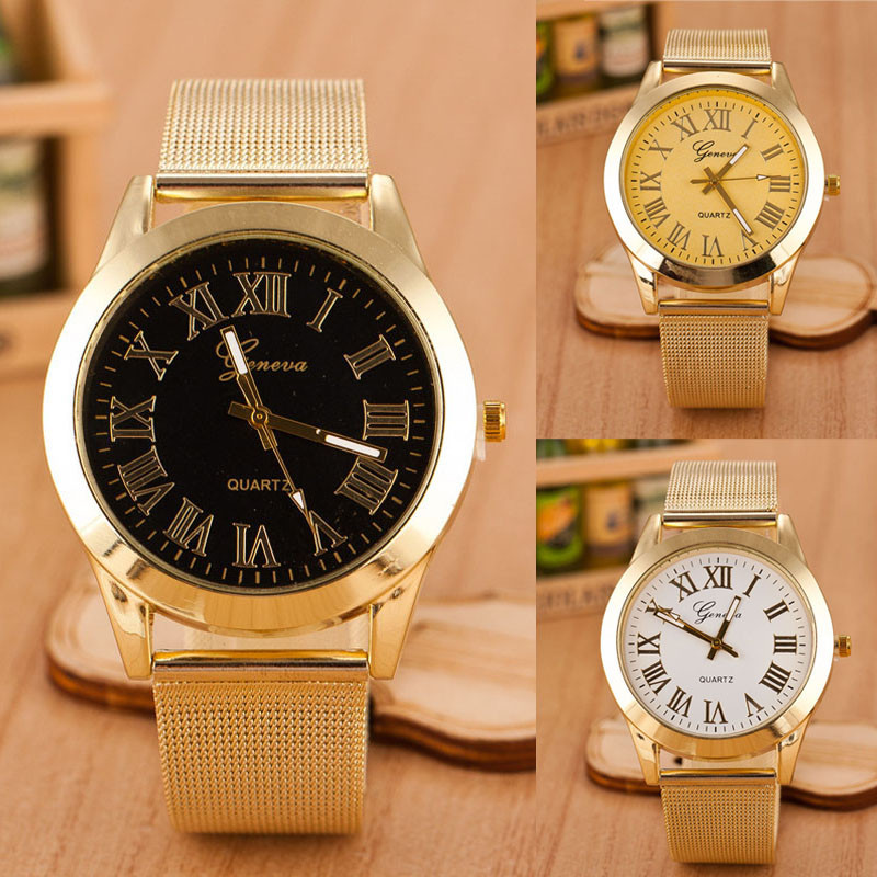 547f3a858a6 2016 Vestido de Moda de Genebra Homens Algarismos Romanos Quartzo relógio  de Ouro Relógios de Pulso de Luxo Relógio Relogio masculino de Aço  Inoxidável ...