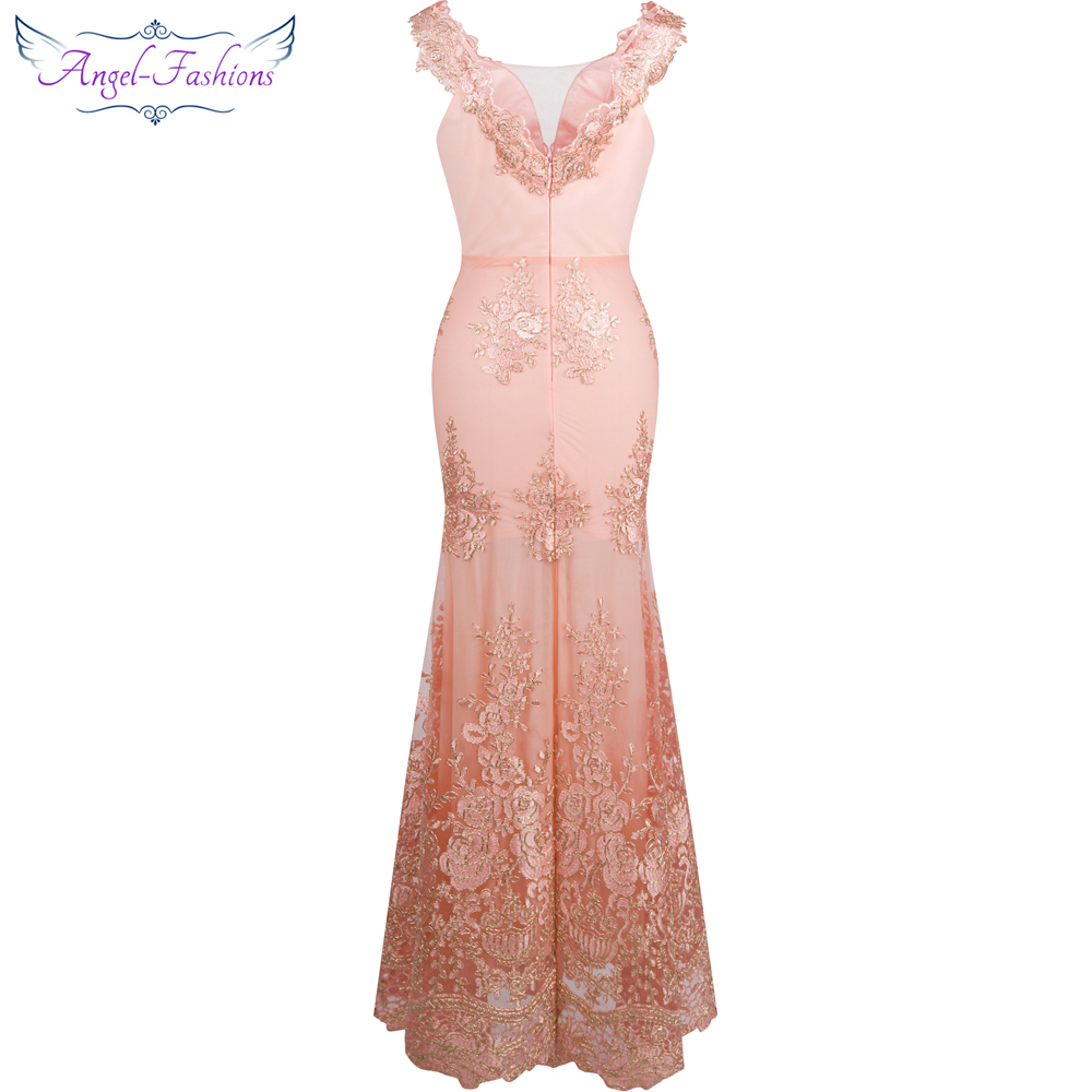 Image 2 - Angel fashions Womens V Neck Embroidery Lace Flower Mermaid Long  Evening Dress Pink 310evening dress pinkevening dresslong evening  dress